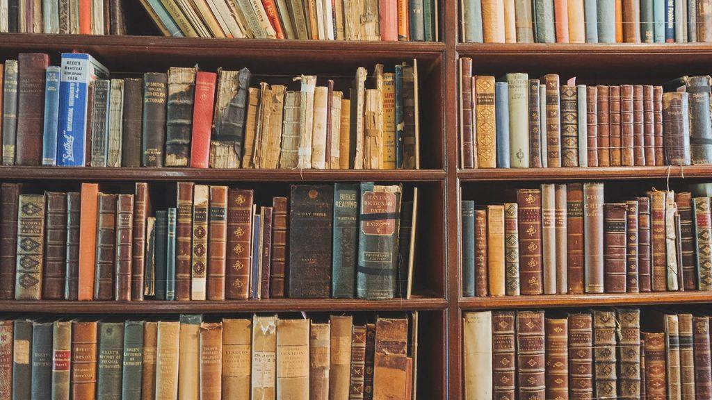 たくさんの本が詰まっている本棚の写真